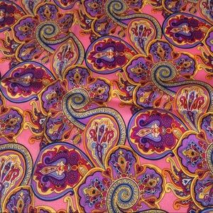 "100% Silk Purple Gold Blue Floral 13"" Square Scarf"